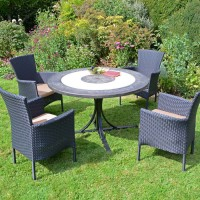 EUROPA LEISURE ST MALO DINING TABLE WITH STOCKHOLM 4 SEATER CHAIR SET