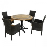 EUROPA LEISURE VERMONT DINING TABLE WITH STOCKHOLM 4 SEATER CHAIR SET
