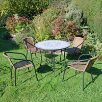 EUROPA LEISURE VERDE 90CM PATIO TABLE WITH SAN REMO CHAIRS